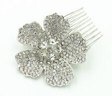 Diamante Bridal White Rhinestones Big Flower Hair Comb Wedding Accessories HA192