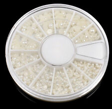Warehouse Tr88 Round Wheel Case Nail Art Decoration Half Face Pearl White Case