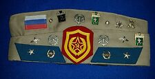 Original Soviet Russian Army Military Officer Cap Hat Many Badges Pins