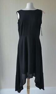 SALE!! Ladies High/Low Midi Black Dress by FRANK LYMAN UK14.  Style no. 171343