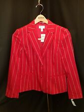 NWT~ Talbots ~12~ Red Cotton/Nylon Lined  Jacket w/Navy & White Pinstripes