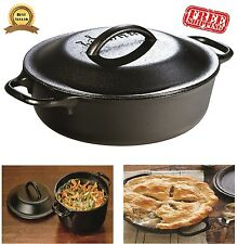 Vintage Lodge Cast Iron Pot 2 Quart Dutch Oven Seasoned Grill Skillet Cookware
