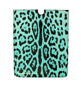 NEW DOLCE & GABBANA Tablet Case Cover Leather Turquoise Leopard Pattern