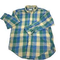 LL Bean Mens Large Tall Plaid Flannel Long Sleeve Shirt Front Button Up