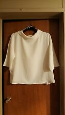 Chico's White Blouse Size 2, Bell Sleeves, Cow Neck, Very Flattering very pretty