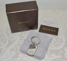 NIB $410 GUCCI GG Logo Sterling Silver Dog Tag Key Ring GIFT BOX