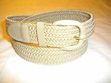 Men's Braided BEIGE  Elastic Stretch Belt Covered Metal Buckle SIZE  XL-42-44