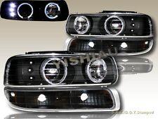 Chevy Silverado 99-02 Twin Halo LED Black Headlights+Bumper Lights