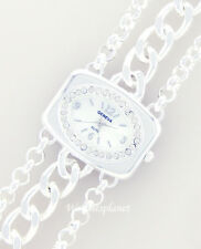 NEW LADIES WIDE SQUARE SIMULATED DIAMOND CHAIN WATCH