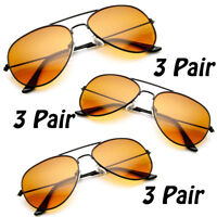 3 PAIR Pilot Style BLUE BLOCKER Sunglasses with Amber Lens Driving Sunglasses