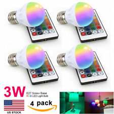 4Pcs E27 3W RGB LED Multi Color Changing Light Bulb with Wireless Remote Control