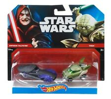 NEW DISNEY Hot Wheels Mattel Star Wars YODA vs EMPEROR PALPATINE Diecast Cars