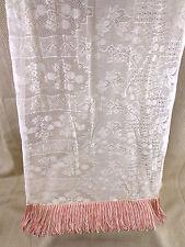 Antique Brussels Lace Shawl Scarf Stole / Paino Cover  Bridal Tassel Fringe