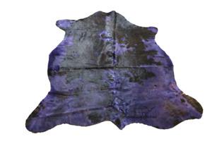 "Purple & Chocolate Black Cowhide Rug - (XL 6'5""x6' Ft) Cow Hide Carpet - Top Qua"