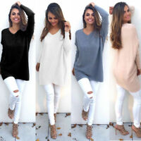 New Loose Long Sleeve Sweater Womens V-neck Knitwear Pullover Jumper Tops