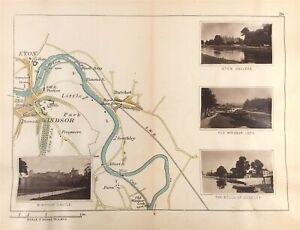 River Thames Map Eton, Windsor Castle Park, Datchet c1885 by Henry Taunt antique