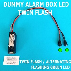Dummy Alarm Box LEDs Twin Flashing/Alternating GREEN LED's 10 yR Battery Fitted
