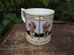 2002 Golden Jubilee of Queen Succession Mug with Prince Charles William Harry &