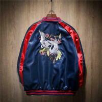 2019 Men Women Jacket Satin Embroidery Crane Bird Souvenir Bomber Trendy Coat Sz