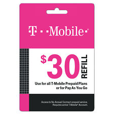 T-Mobile Prepaid $30 Refill Top-Up Prepaid Card / RECHARGE DIRECT