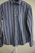 DKNY 100% Cotton Multi-Colored Striped Spread Collar Dress Shirt Size - Medium