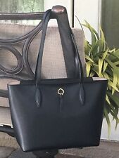 KATE SPADE ADEL SMALL TOTE SHOULDER BAG BLACK LAPTOP SATCHEL GOLD $299