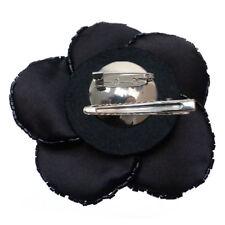 Pince cheveux bibi Mariage cérémonie soirée danse fleur SATIN NOIR perles Noire