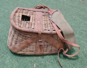 Fantastic Old Wicker Leather Fly Fishing Trout Fish Creel Basket Fishing w strap