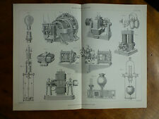 1874 ENGRAVING of ELECTRIC LIGHT - machines for generating