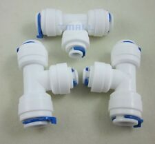 """3pcs 3/8""""+3/8""""+1/4"""" 3-way Reducing Tee Tube Quick Connect for RO Reverse Osmosis"""