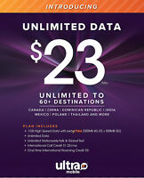 Ultra mobile $23 Plan Preloaded Sim Card 1 Month (30 Days) Included Unactivated
