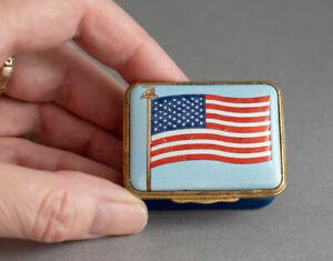 Vintage HALCYON DAYS Enamel AMERICAN FLAG Trinket/Pill BOX God Bless America USA