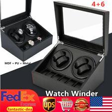 Box Carbon Fiber Storage Case Us 4+6 Watch Winder Automatic Rotate Watch Display