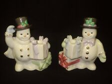 "1999 Lenox Classic "" The Snowman Candlesticks "" Christmas Candle Holders 5.5"""