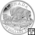 2014 'The Bison- A Family at Rest' Proof $20 Silver Coin 1oz .9999 Fine(13912)NT