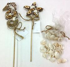 Seahorse & Star Pick & Bag of Shells Nautical Decor. Sea Shells, Wood, Jute.