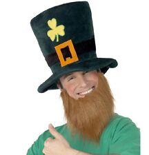Hommes Leprechaun Chapeau Déguisement & Barbe Journée St Patrick Irlandaise
