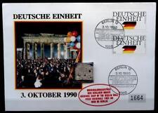 Deutsche Einheit. Original Bruchstück der Berliner Mauer. FDC+SoSt. BRD 1990