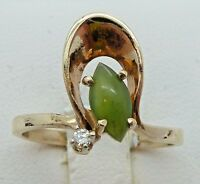 Estate 10k Yellow Gold 7x4mm Marquise Jadeite & Diamond Ring 1.9g Size 6.25