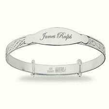 Personalised 925 Sterling Silver Baby Christening Bangle Bracelet Any Name Gift