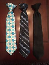 Boys Clip On Neck Ties (Lot Of 3)