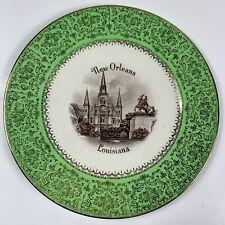 "Vintage ENCO Views of America New Orleans Louisiana Souvenir Plate 22 K Gold 11"""