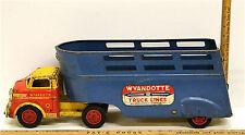 Vintage Wyandotte Construction Truck Lines Semi Pressed Steel Rubber Wheels USA
