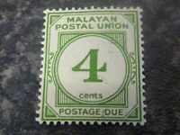 MALAYAN POSTAL UNION POSTAGE DUE STAMP SGD2 4 CENTS GREEN LMM