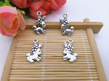 Wholesale 10pcs Tibet Silver  Cute Bunny Charm Pendant Beaded Jewelry DIY 50