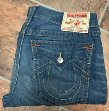 TRUE RELIGION Men's Billy Jeans 36x30 Flap Horseshoe Pocket BOOT Med Wash Hemmed