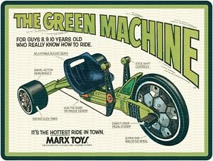 """MARX TOYS THE GREEN MACHINE 9"""" x 12"""" Sign"""
