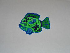 """Funky Floral Fish"" Iron-On Embroidered Patch"