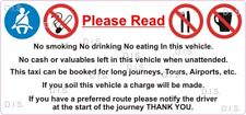 Taxi Minicab Polite Notice conditions, car bus sign multipurpose decal sticker