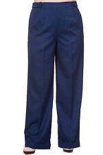 XXL PLUS SIZE 1940'S FLARED NAVY BLUE WIDE LEG TROUSERS PANTS VINTAGE WORK 18